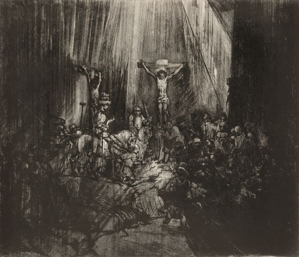 "Rembrandt ""Christ en croix"" 1653, pointe-sèchen 4e état Fondation Custodia, collection Frits Lugt"