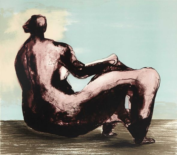 "Henry Moore (1898-1986) ""Reclining woman"". Lithogaphie 9/50. Estimation: 1700 à 2 500 euros. Vente Bonhams New-York"