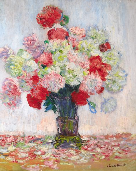 "Claude Monet, ""Vase de pivoines"", printemps 1882. Estimation: 1,2 à 1,8 million de livres. Vente Sotheby's Londres 3 février."