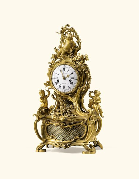 Pendule à musique, à jeux de carillons, en bronze doré et patiné d'époque Louis XV, signée St Germain, le cadran et le mouvement signés Stollewerck/A Paris. Estimation: 40 000- 60 000 euros. Vente Sotheby's Paris, 18 mars.