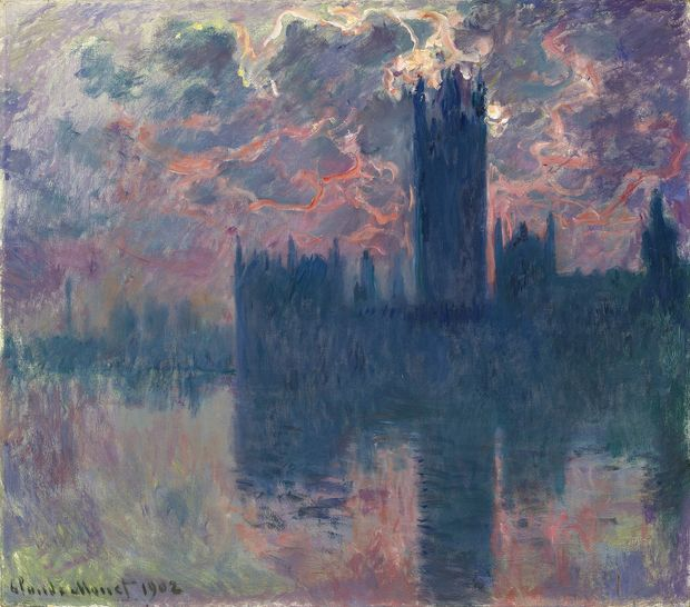 "claude Monet, ""Le Parlement, soleil couchant"", 1902. Estimation:35 à 45 millions de dollars. Christie's New York, 11 mai."
