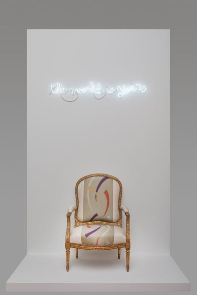 "fauteuil de Jean-Baptiste Delaunay, époque Louis XVI et oeuvre de Claude Lévêque (2013) ""The world is yours""."