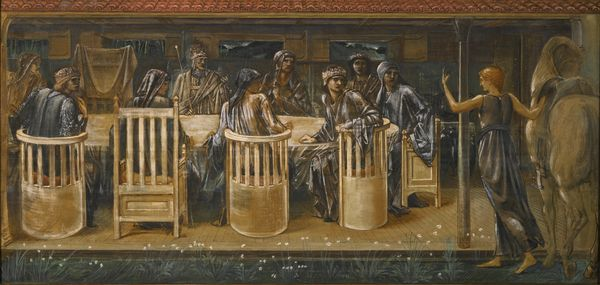 Edward Coley Burne-Jones The knights of the round table summoned to the quest by a strange damsel Estimation: 150 000 à 200 000 livres Vente Sotheby's, 13 juillet